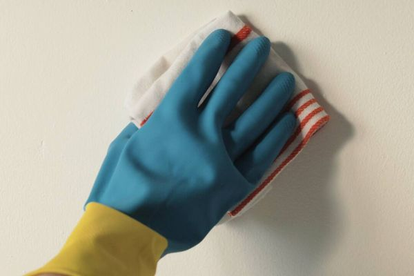 a hand in a blue glove cleaning a wall with striped cloth
