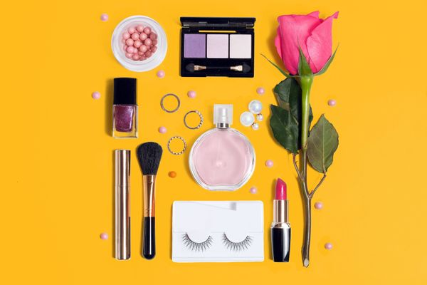 array of make up items for organisation