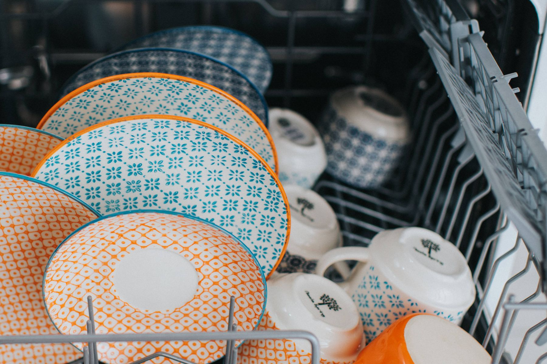 Dishes and cups in dishwasher
