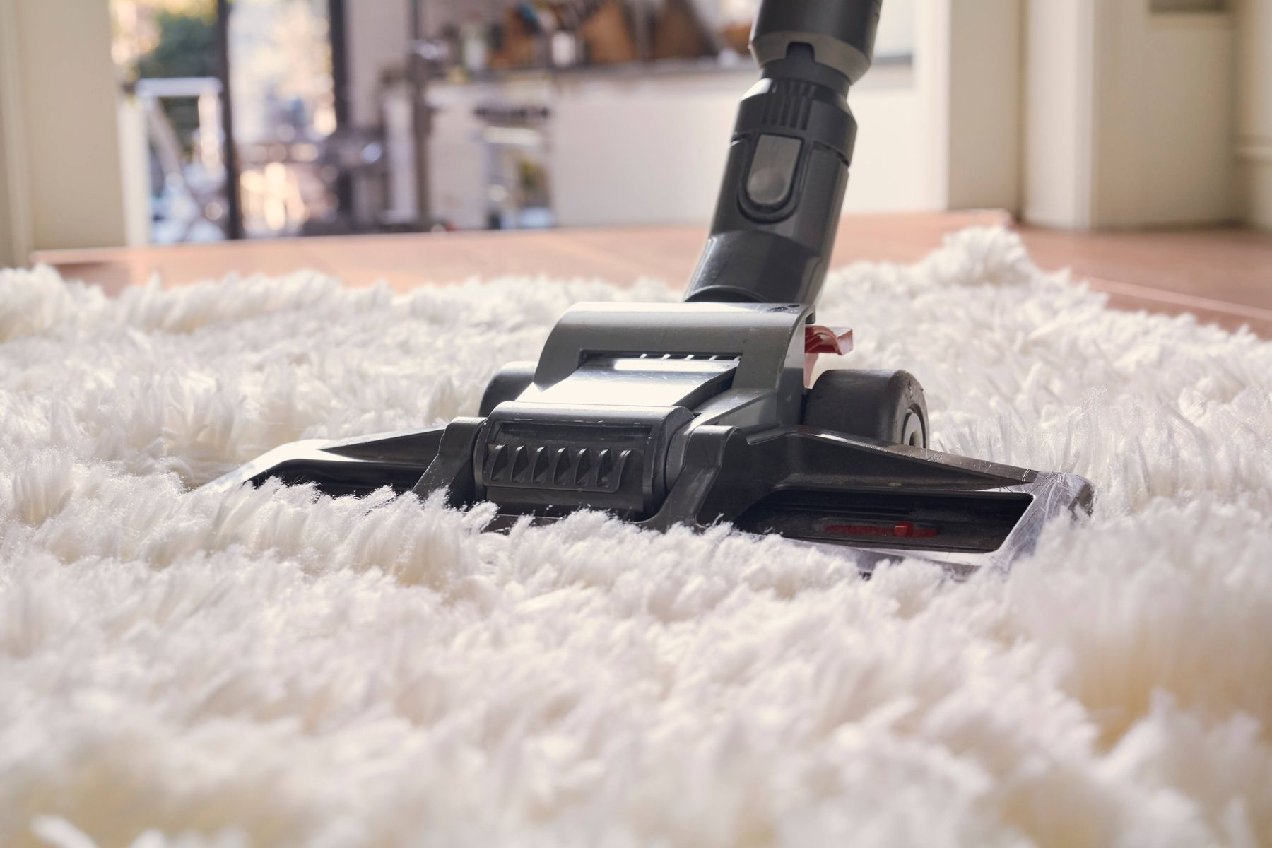 How to prevent dust allergy vacuum cleaner cleaning white high pile carpet