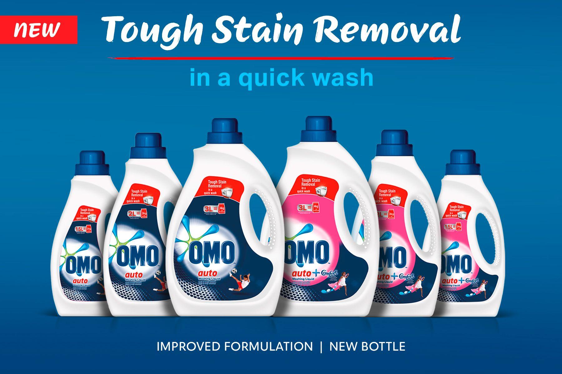 OMO Auto Liquid product range, text: