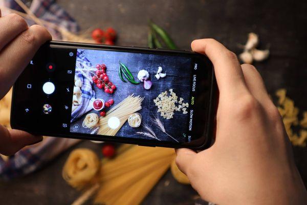 Handykamera mit Essen